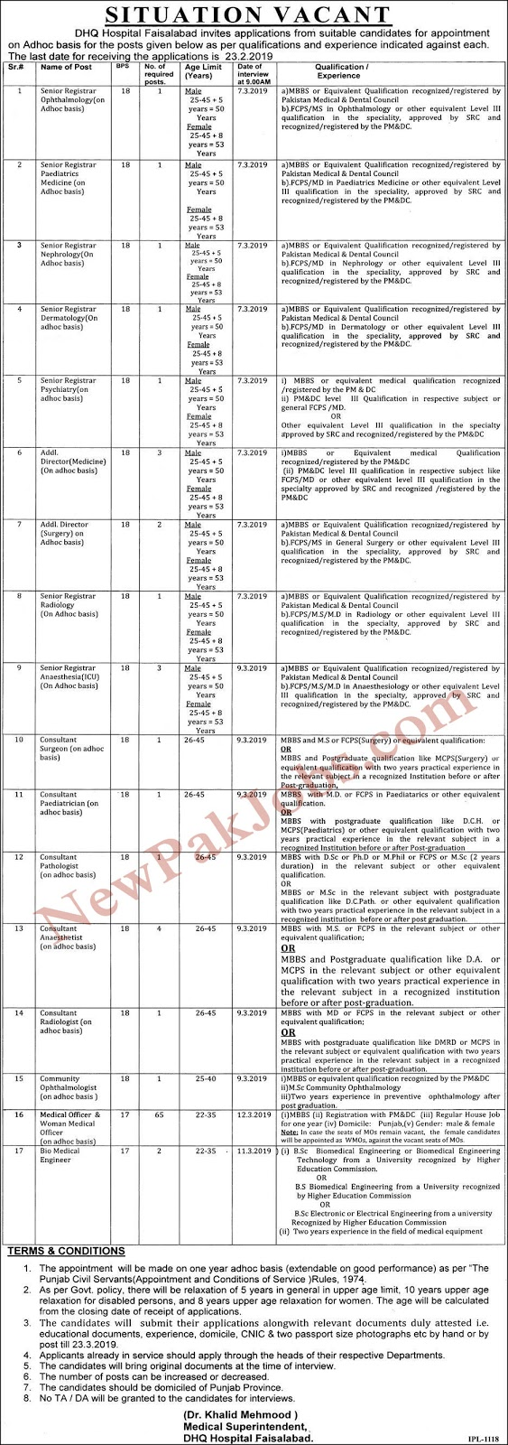 90+ Jobs in DHQ Hospital Faisalabad February 2019