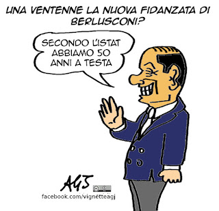 Berlusconi, istat, amore, differenza d'età, vignetta satira