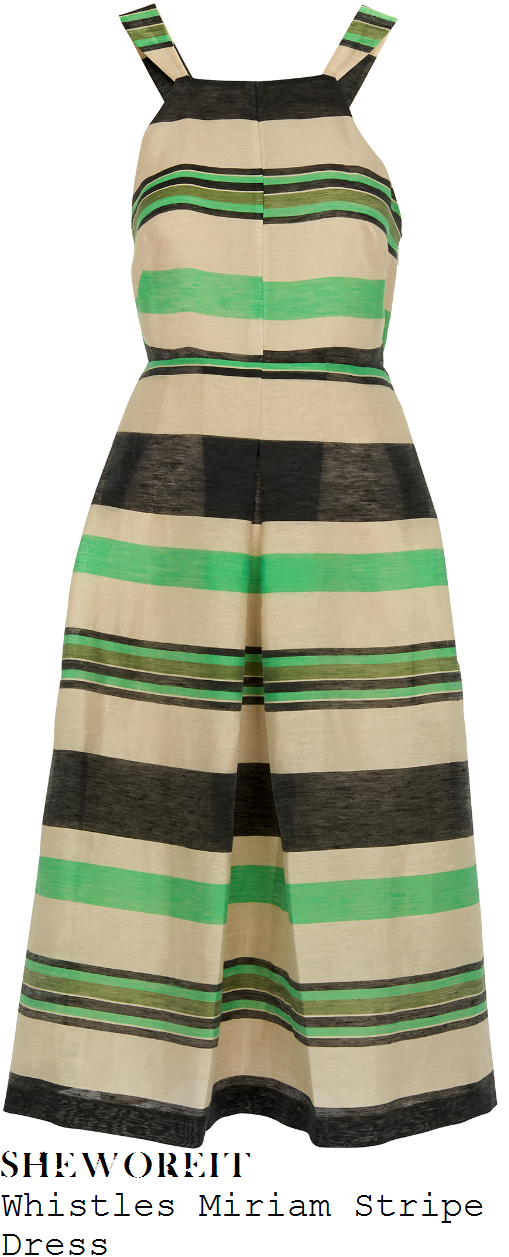 anita-rani-whistles-miriam-bright-green-cream-black-and-khaki-horizontal-stripe-print-sleeveless-cut-away-shoulder-high-waisted-pleated-textured-linen-midi-dress