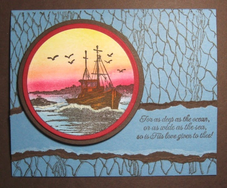 ODBD The Waves On The Sea, Fishing Net Background, The Mighty Sea, Card Designer Lynn aka alle's