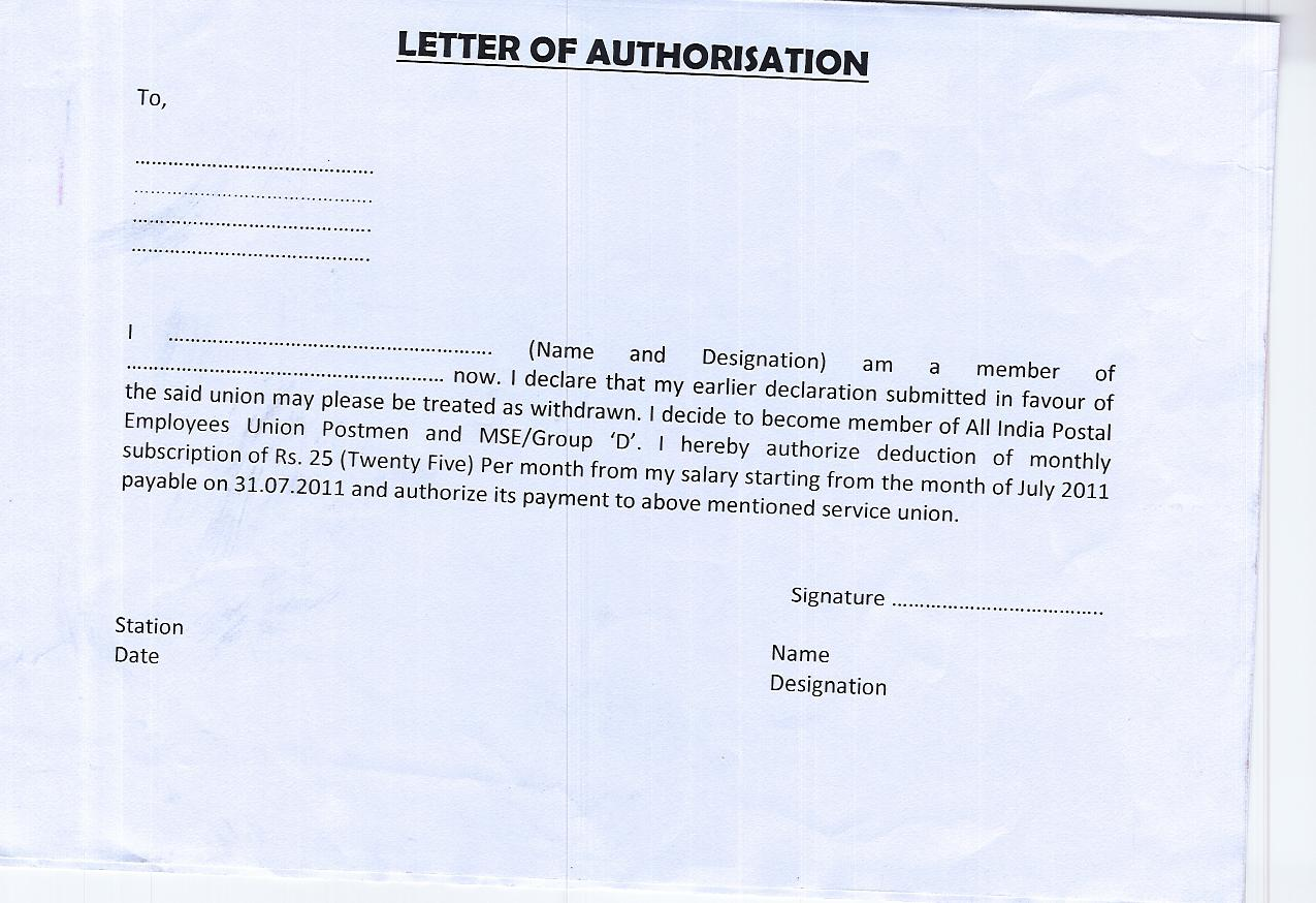 Authorization Letter Bank India – Letter of Authorization Letter