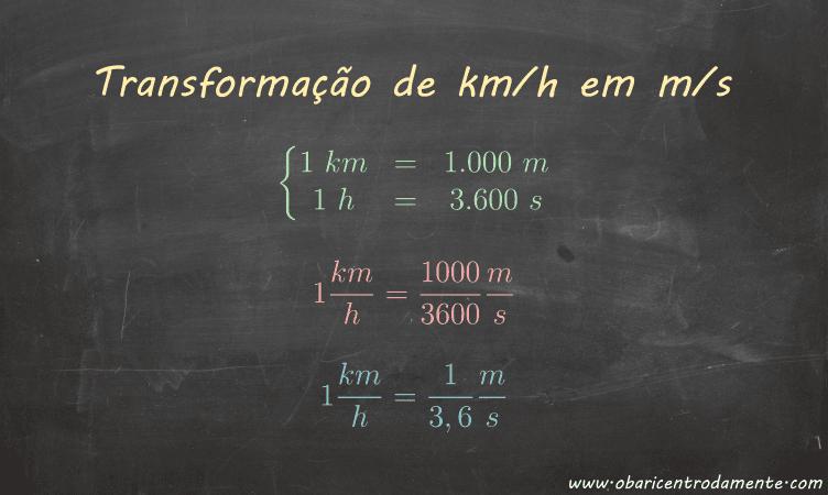 Transformação da velocidade de km/h em m/s e vice-versa