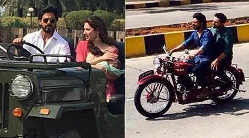On raees movie shooting. Shah rukh khan and mahira going fast