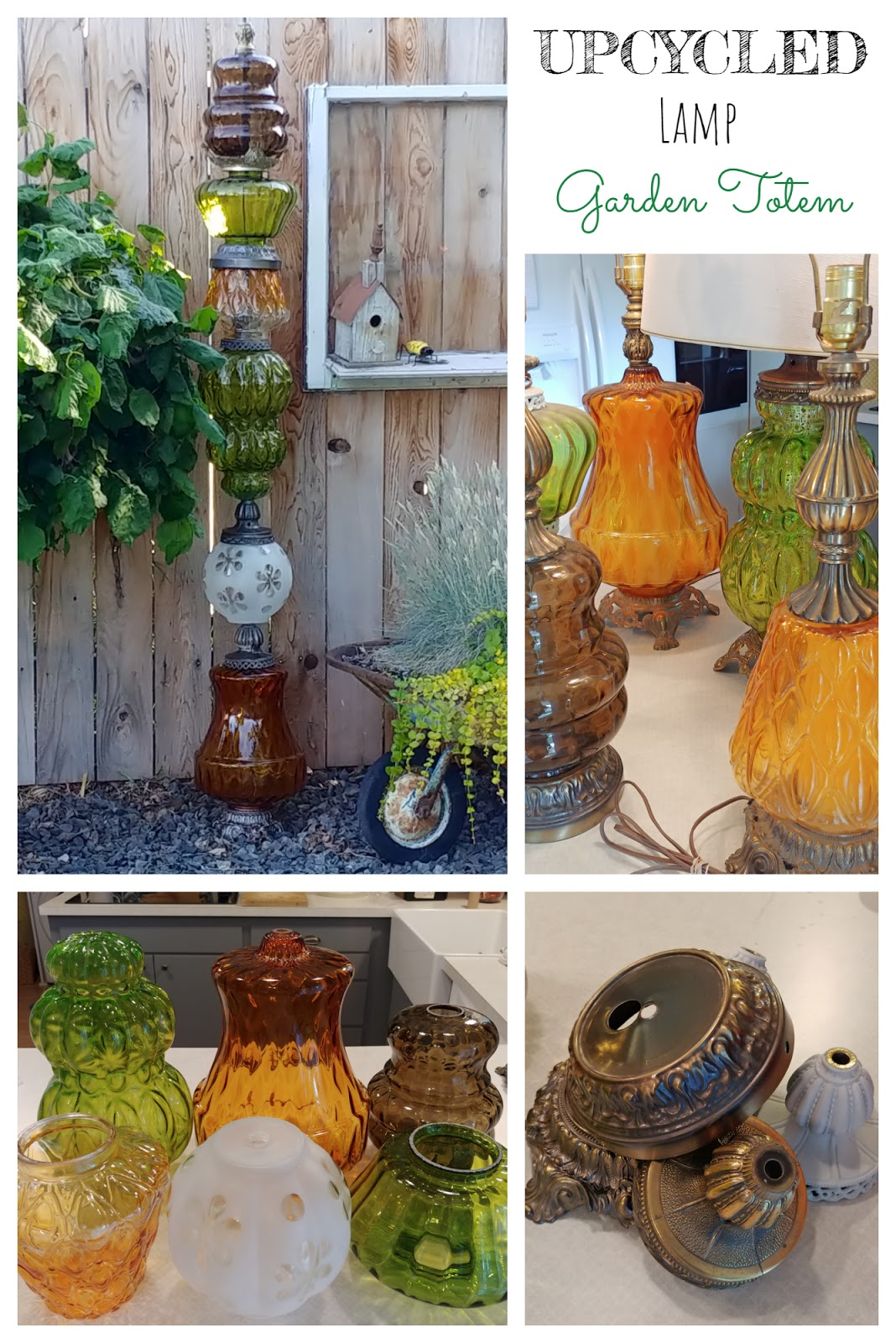 garden art totem pole made from recycled glass lamp globes