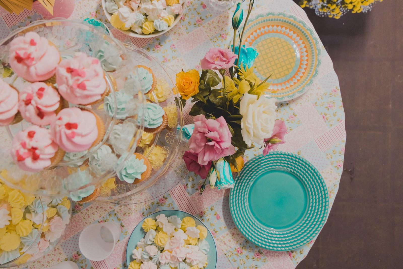 decoração mesa chá de cozinha