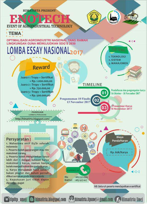 Lomba Esai Nasional ENOTECH Untuk Mahasiswa