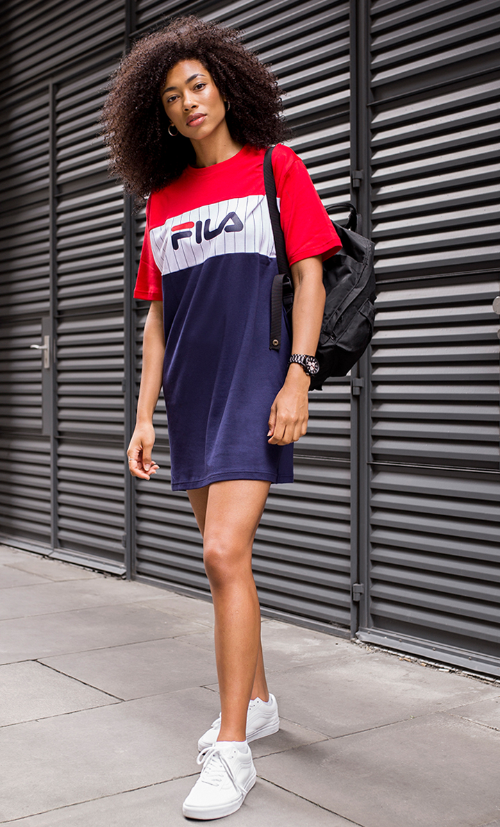 fila outfits for women. i\u0027ve been collecting a lot of classic sports logo tees so this dress is the perfect alternative for when i don\u0027t want to wear jeans. fila outfits women