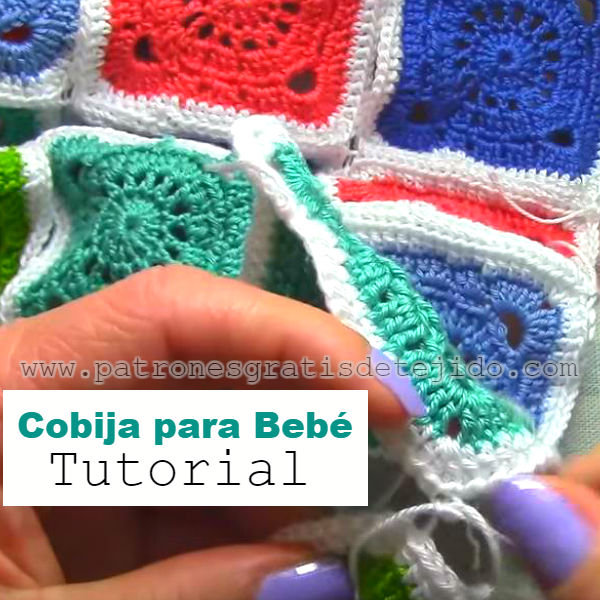 manta para bebe tejida al crochet con cuadros paso a paso
