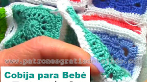 Cobija Crochet con Cuadros para Bebé / Tutorial