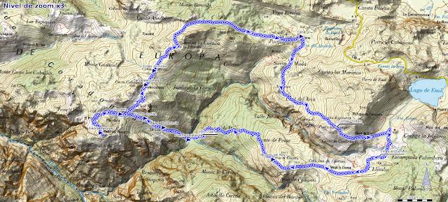 Mapa de la ruta del Bosque de Pome y Piedras Negras
