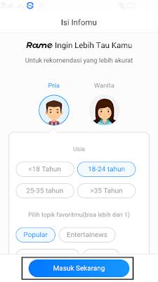 cara mengisi pendaftaran di aplikasi rame android
