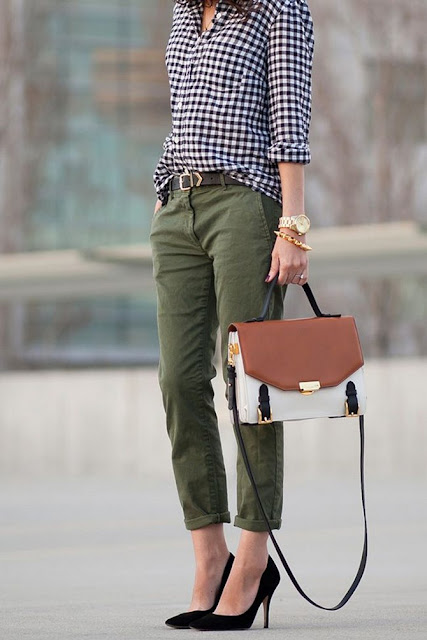 olive green cargo pants with heels and gingham shirt cute casual street style