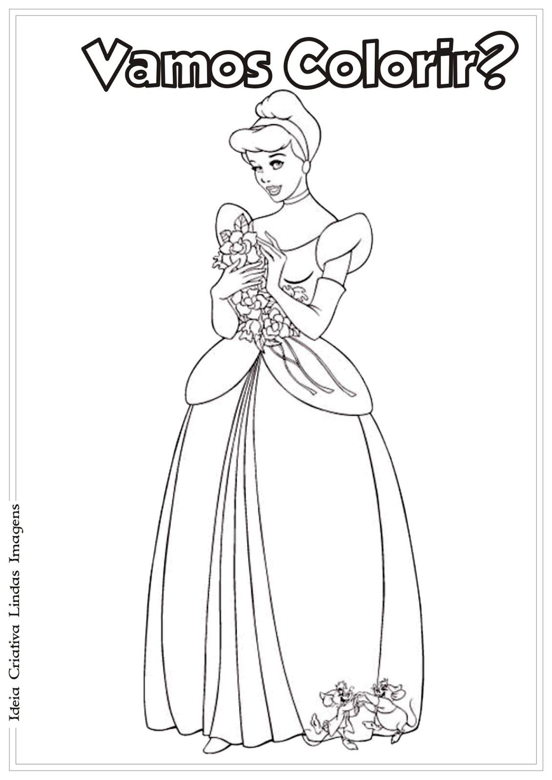 Princesa da Disney Cinderela para colorir