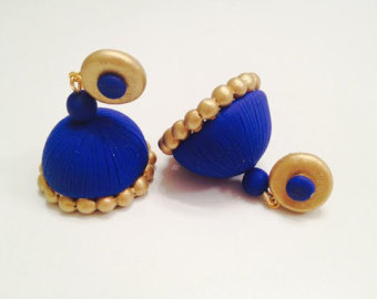 blue color Trendy Quilling Earring Jhumka Designs 2015 - quillingpaperdesigns