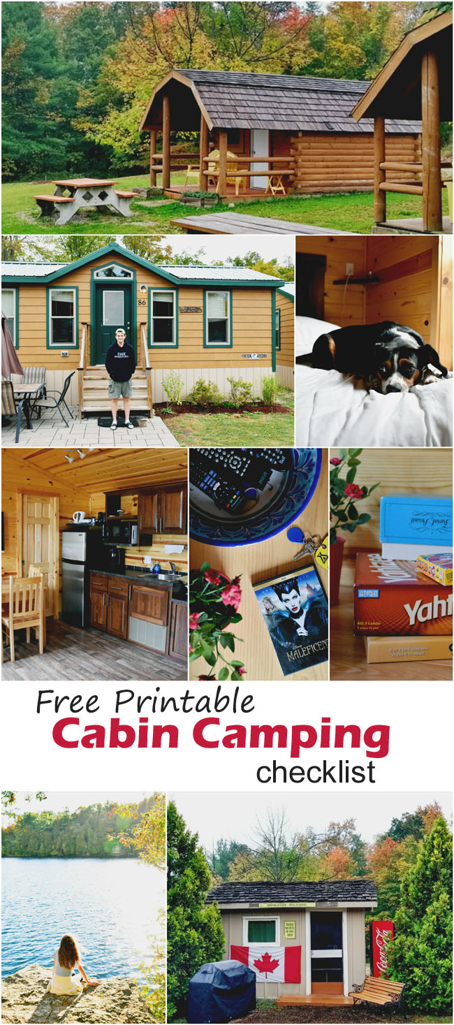 Free printable cabin camping checklist - take the stress out of camping with this complete checklist #organization #packing #cabin #camping