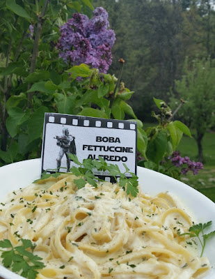 Boba Fettuccine Alfedo Recipe and Label Star Wars Party Food