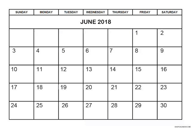 Printable June 2018 Calendar A4, Landscape, Portrait.