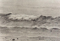Pencil drawing of seawaves in a sketch book