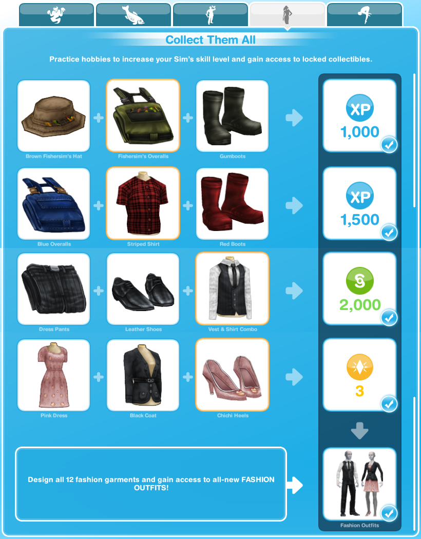 Sims Freeplay Quests And Tips Hobbies Fashion Design
