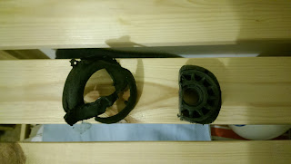 One shredded suitcase wheel