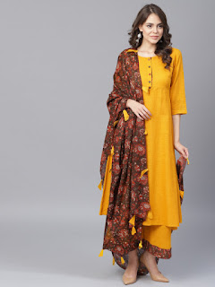 Yufta Women Mustard Yellow & Brown Solid Kurta with Palazzos & Dupatta