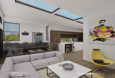 The Modernliving Room Centred Around Kitchen