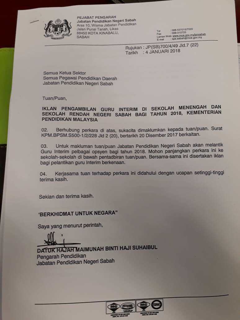 Jawatan Kosong Guru Interim Sarawak 2019 Cikguzim