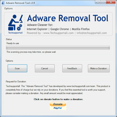 Tela inicial Adware Removal Tool