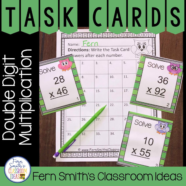 Double Digit Multiplication Task Cards and Recording Sheet - Owl Themed that Includes 36 Owl Themed Task Cards and Recording Printable Worksheet, with Answer Sheet Included.