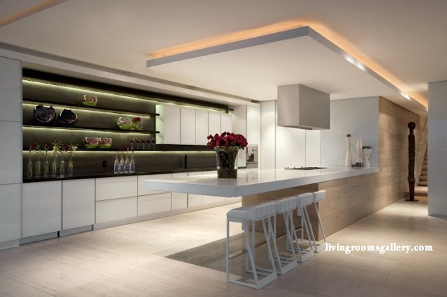 modern Pop False Ceiling Designs with LED Ceiling Lighting for Kitchen