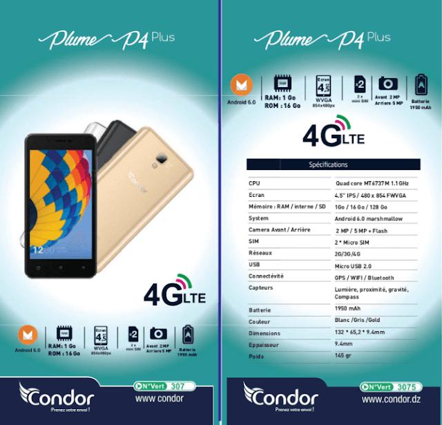 كوندور تعلن عن هاتفها الجديد Plume P4 Plus