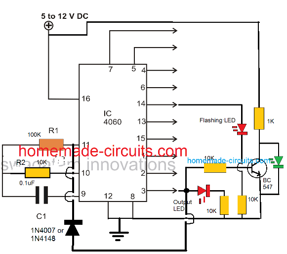 latching with a diode to lock the output delay in IC 4060