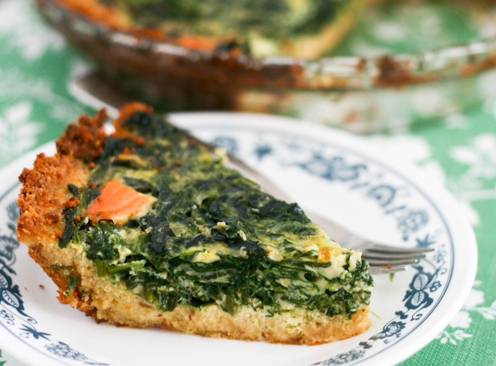 Spinach Asparagus Smoked Salmon Quiche With A Crumb Crust Coconut Lime