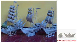 Miniatur Kapal dari Koran Bekas