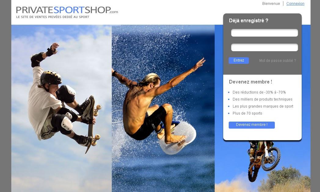 privatesportshop enfin un site de ventes priv es d di au sport. Black Bedroom Furniture Sets. Home Design Ideas