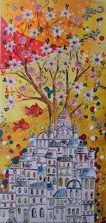 https://www.latelierdannapia.com/ mezzaro  Montmartre pesci colibri fiori albero della vita quadro acrilico su tela, onirico poetico surrealista poissons arbre de la vie