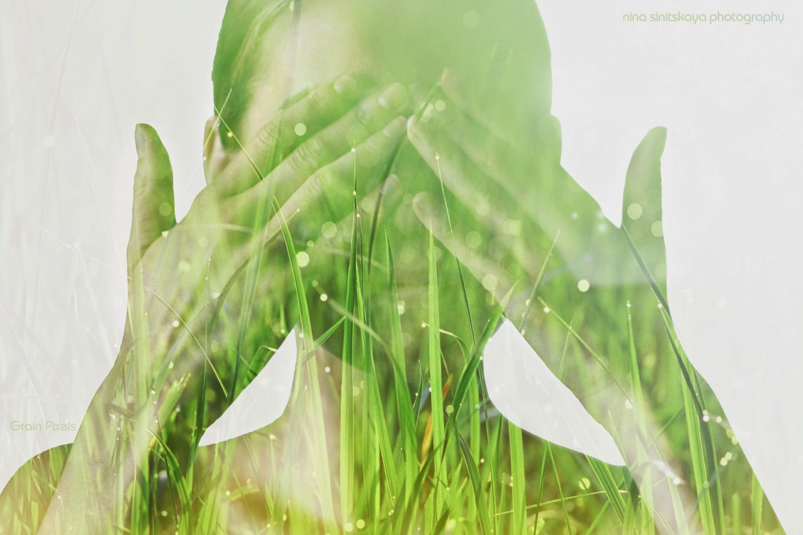 Double exposure photograph of a girl and a grass