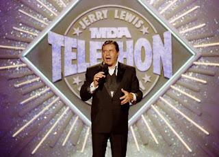 Jerry Lewis en uno de sus telemaratones - 1990