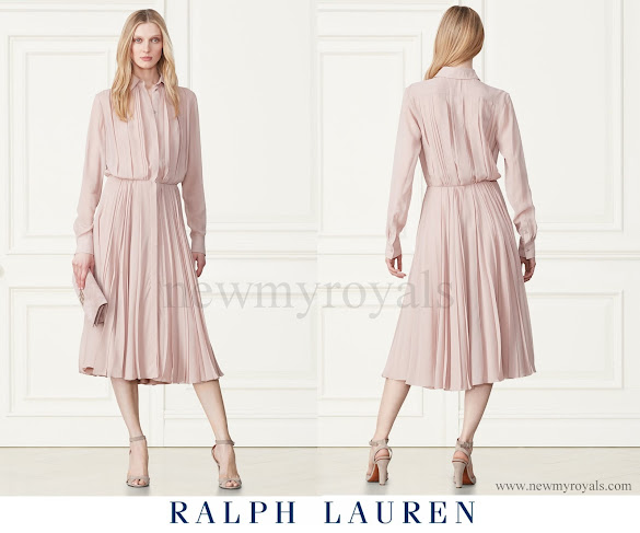 Crown Princess Victoria wore Ralph Lauren Maxine Pleated Silk Shirtdress