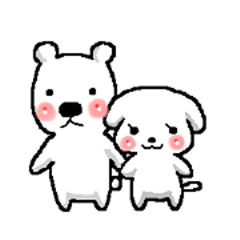 Married couple of a white bear andapuppy