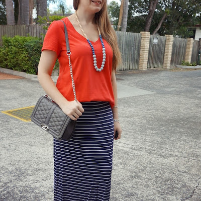 awayfromblue Instagram | red tee navy stripe maxi skirt rebecca Minkoff love bag