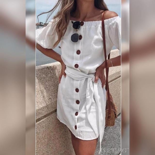 Κοντομάνικο  κοντό άσπρο φόρεμα BUENA WHITE