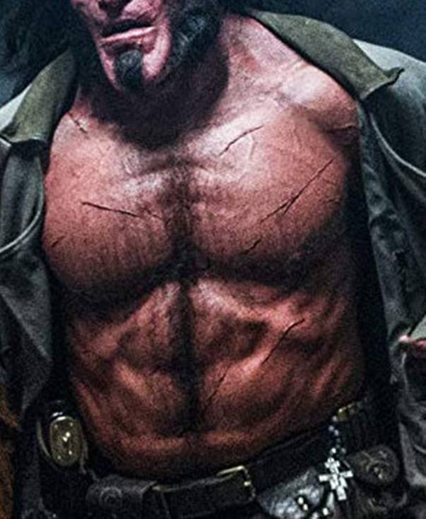 Hellboy fans were seen on his torso by a grinning gorilla.