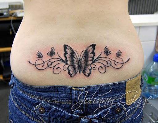 Parte inferior das costas tatuagem de borboleta design para as mulheres do Seu lindo desenhos para as mulheres