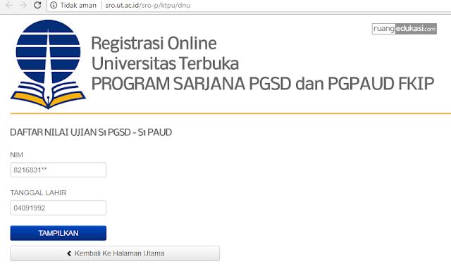 Cek Nilai Ujian UAS Universitas Terbuka