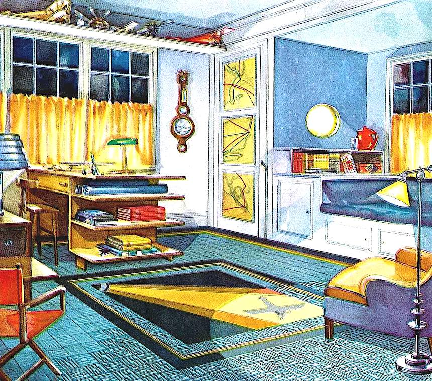 1931 boy's bedroom, color illustration