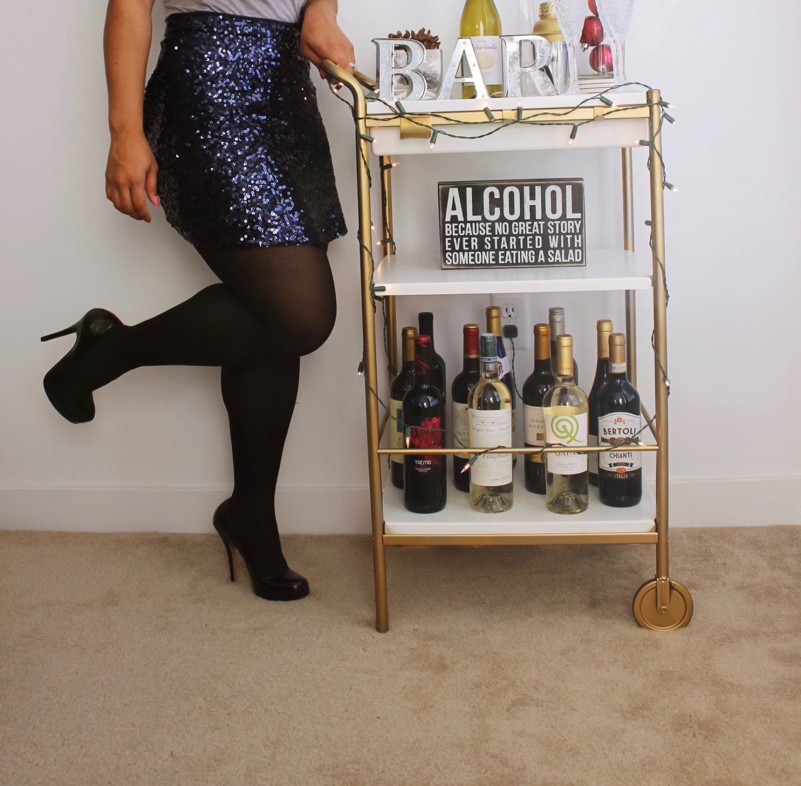 bar cart, how to style a bar cart, holiday bar cart, DIY bar cart, gold, new year's eve