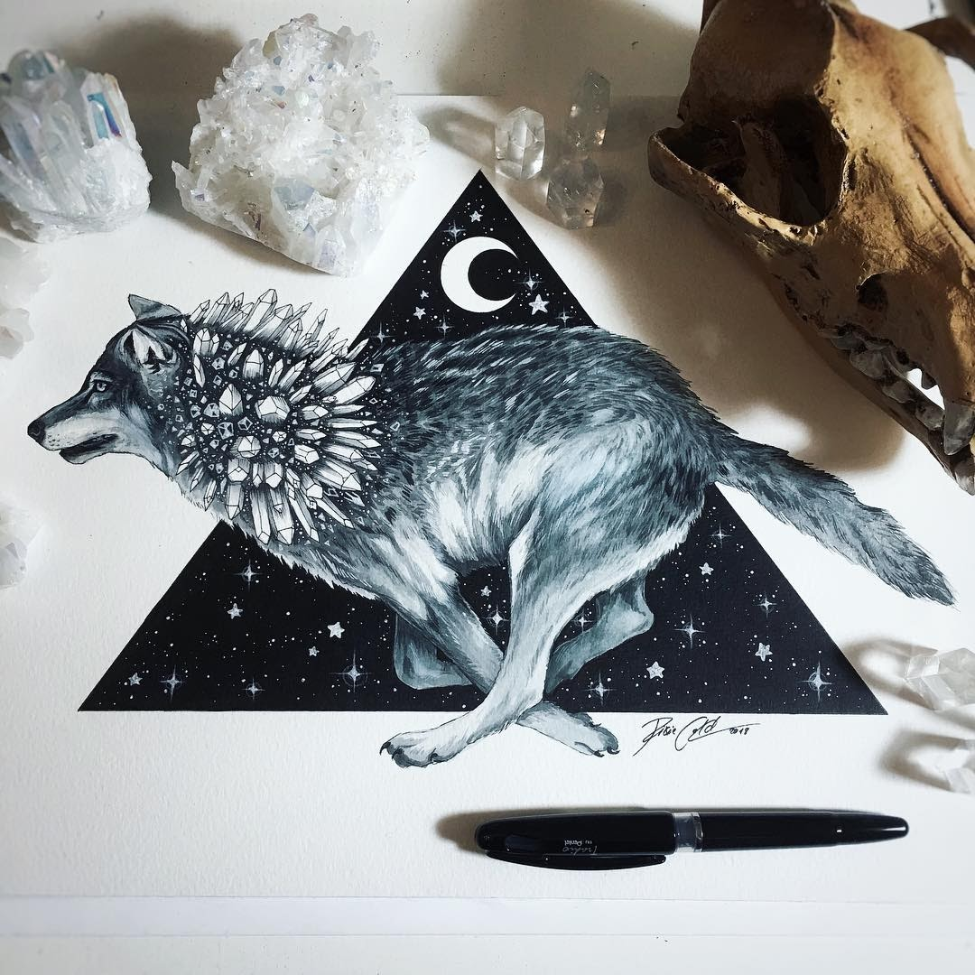 05-Running-against-the-time-Wolf-Pixie-Cold-Fantasy-Animals-in-Different-Style-Drawings-www-designstack-co