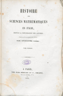 Libri's History of Mathematical Sciences drew on stolen documents