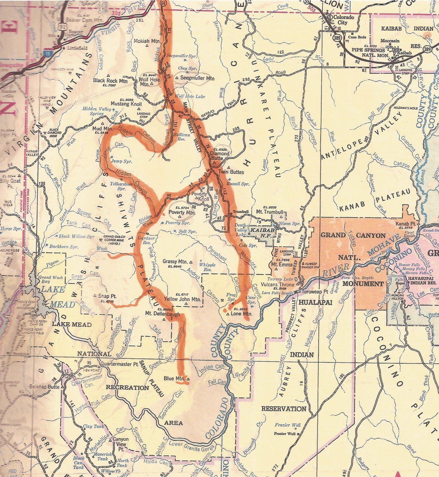 Map Of Arizona Strip.Celebrating The Grand Canyon The Western Arizona Strip A Wartime